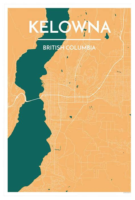printable map kelowna kelowna city map prints and posters by point two