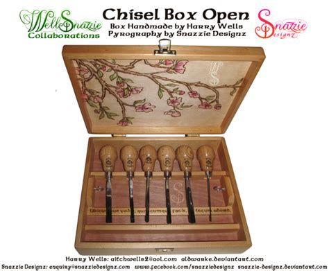 Handmade Chisels - handmade chisel box inside pyrograph by snazzie designz