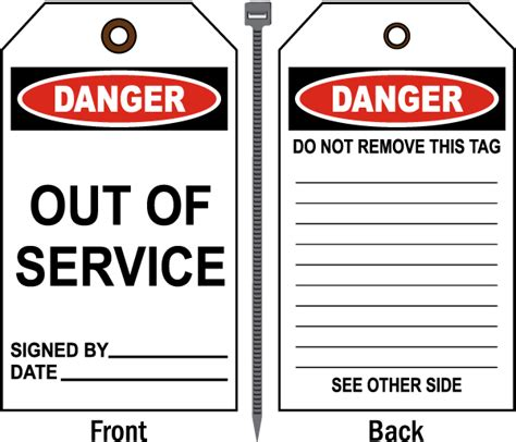 service tags danger out of service tag by safetysign b4897
