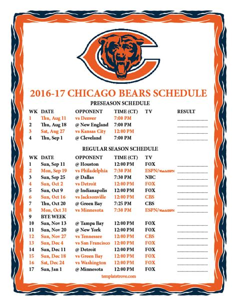 Chicago Bears 2017 Schedule Printable printable 2016 2017 chicago bears schedule