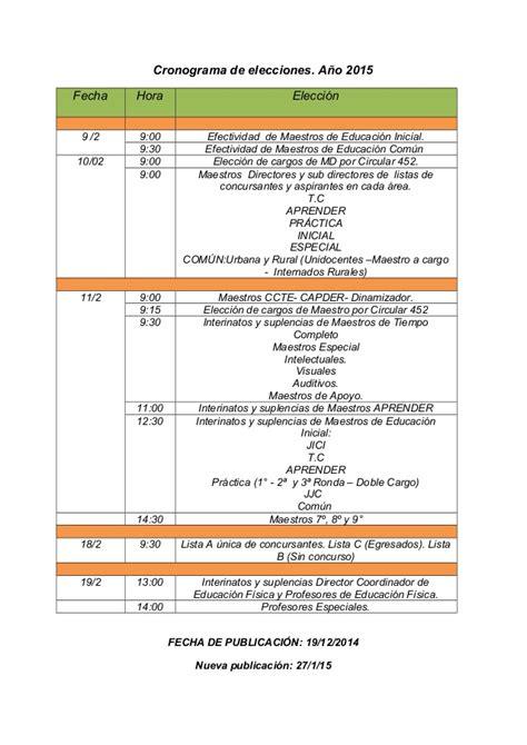 cronograma fecha presentacion daot 2015 cronograma de elecciones 2015 4