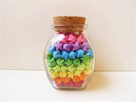 Origami Lucky Jar - glass jar of rainbow origami lucky rainbow jar