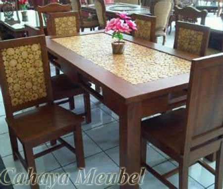 Meja Makan Jati Koin set meja makan koin minimalis jati set meja makan