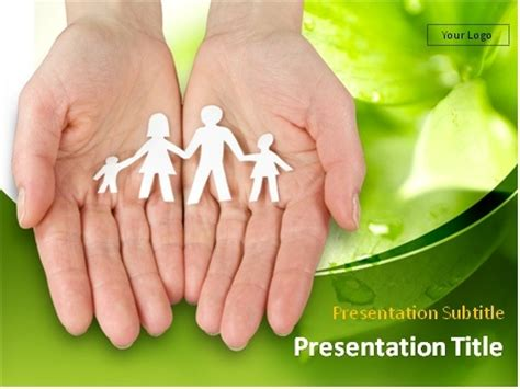 ppt templates free download family download hands with paper chain of family over green