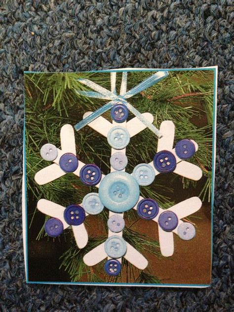 ornament crafts for kindergarten a snowflake ornament made with buttons and popsicle