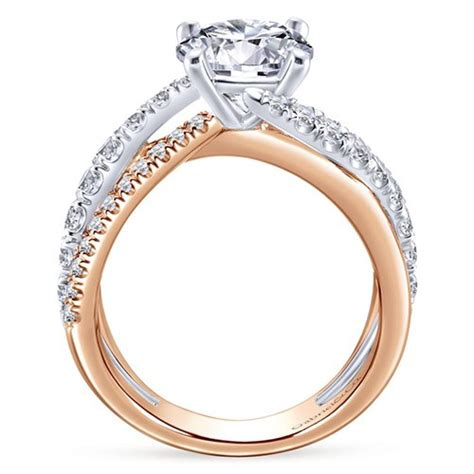 14k white and pink gold 0 79ct engagement ring
