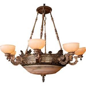 antique alabaster chandelier 7459 19th c bronze 8 arm justice chandelier with