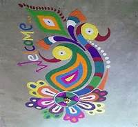 Pics Photos  Indian Rangoli Art Peacock Freehand Design Filmvz Portal