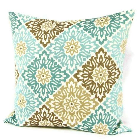 Teal And Brown Decorative Pillows Teal Aqua Seafoam Pillow Cover Taupe Geometric Decorative
