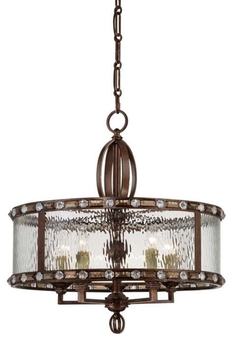Bronze Drum Shade Chandelier Five Light Clear Watered Glass Gilded Bronze Drum Shade Chandelier Transitional Chandeliers