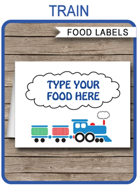 train theme food labels template place cards train