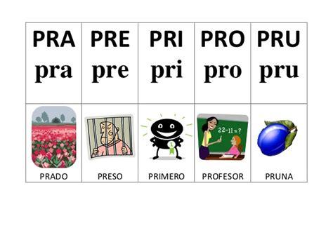 imagenes con palabras pra pre pri pro pru silabario