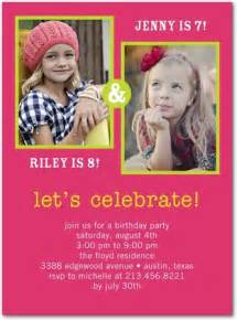 double birthday party invitations with two photos joint