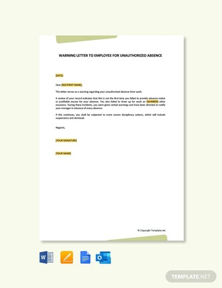 warning letter employee unauthorized absence