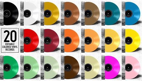 colored vinyl 20 colored vinyl records mockup product mockups