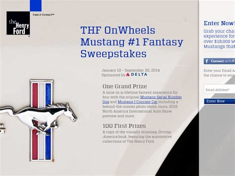 Fantasy Sweepstakes - thf onwheels mustang 1 fantasy sweepstakes