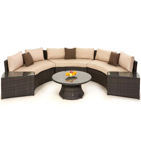 rattan curved sofa maze rattan half moon curved garden sofa set