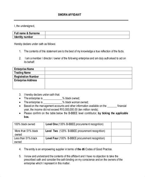 sle blank affidavit form 9 free documents in pdf