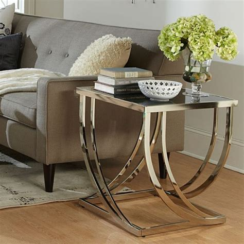 Modern Side Tables For Living Room Beautiful Glass End Tables For Living Room Using Metal Frame Table Legs With Satin Finish