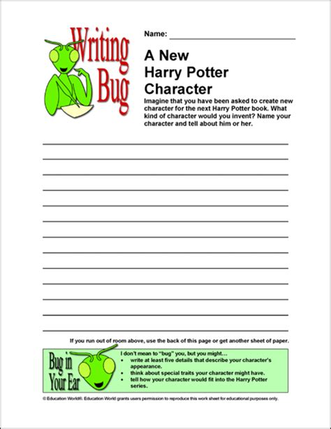 harry potter printable activity sheets writing bug a new harry potter character education world