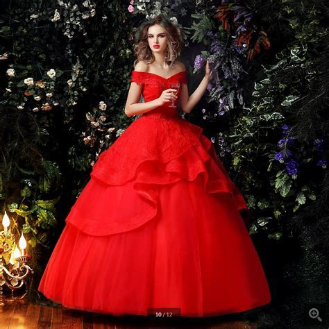 2016 new designer ball gown red off the shoulder wedding