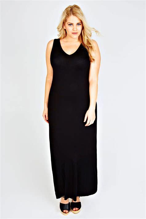 petite black plain  neck sleeveless jersey maxi dress