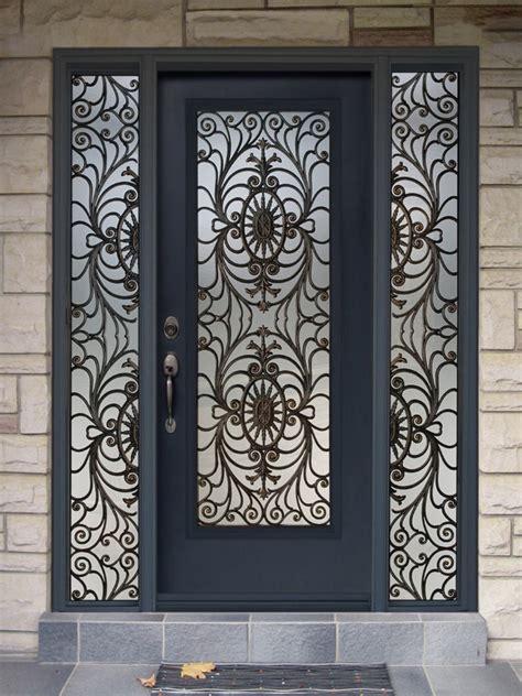 Wrought Iron Exterior Doors Front Door With Wrought Iron Sidelites And Insert Wood Door Gallery Wood Doors Toronto