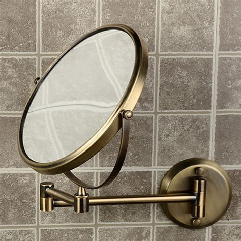 Antique Bathroom Mirror 8 Quot Side Bathroom Folding Brass Shave Makeup Mirror Antique Bronze Wall Mounted Extend