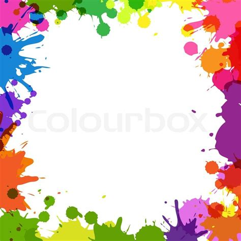 cool white frame added colorful pictures as custom frame with color blobs stock photo colourbox