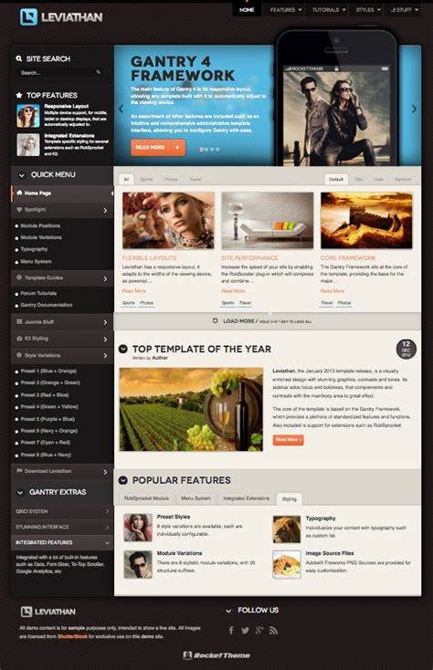 leviathan responsive touch swipe joomla 2 5 3 0 template