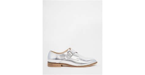 wide fit flat shoes asos moss wide fit leather flat shoes in silver lyst