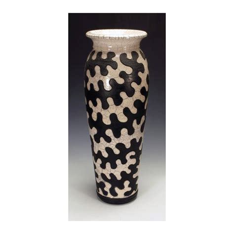 Large Vase Crossword by Black And White Raku Puzzle Vessel By Lance Timco Ceramic
