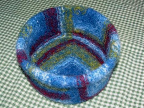 knitted yarn bowl pattern wool felted mitered bowls directions wee folk