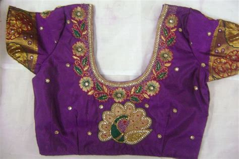 embroidery design in blouse back neck blouse ready made and customized designer blouse