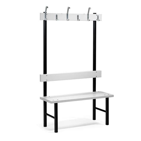 changing room benches with hooks single bench hook rail 6 hooks 1000x400x1600 mm grey