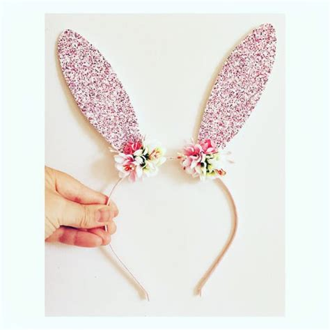 Rabbit Headband sequin fabric a bunny and flower on