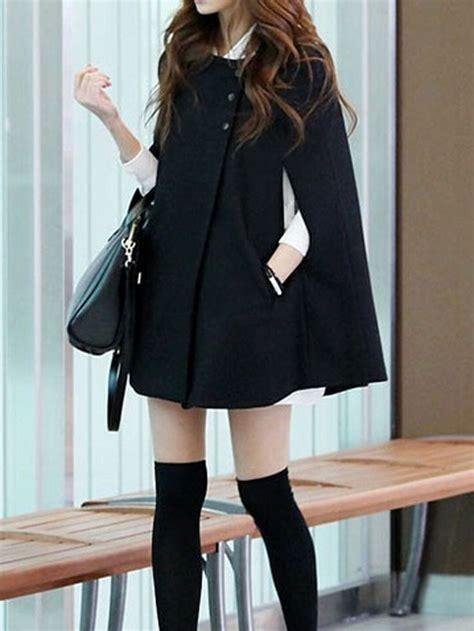 19664 Black Cape Blazer Coat modern cape coat collection for designers