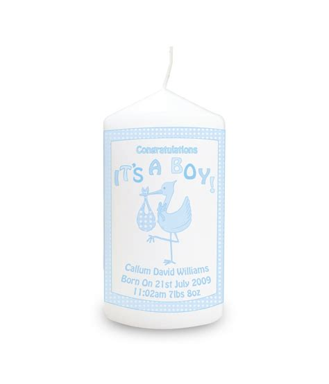 stork it s a boy personalised candle personalised candles