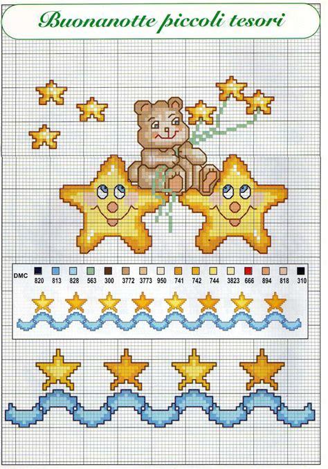 punto croce lettere per bambini e stelle schemi punto croce per bambini nascita 1