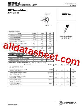 Bf199 Npn Rf Transistor Bf 199 Nxp bf224 datasheet pdf motorola inc
