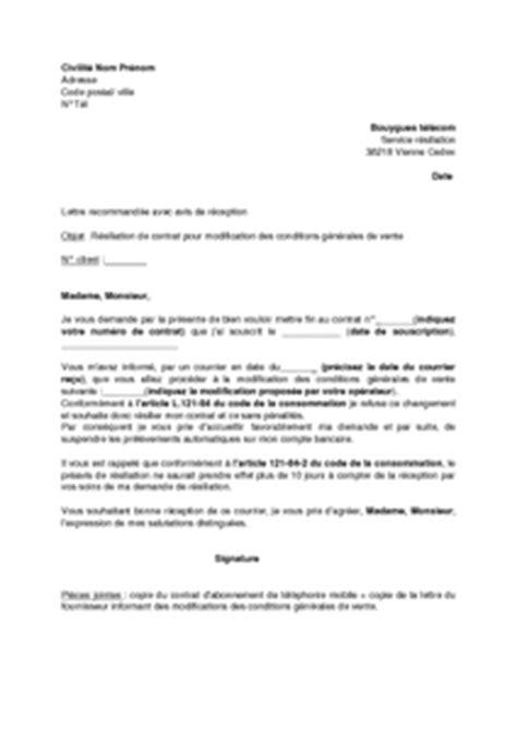 Resiliation Lettre Bouygues Lettre De R 233 Siliation De L Abonnement De T 233 L 233 Phonie Mobile Bouygues Pour Modification Des