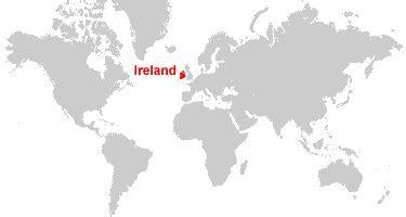 world map with ireland ireland map and satellite image