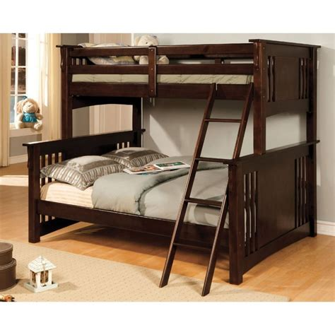 espresso bunk beds furniture of america roderick twin over full bunk bed in