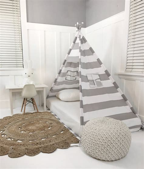 bett auf boden play tent canopy bed in grey and white stripe