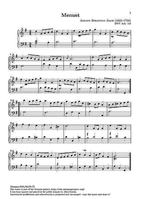 minuetto testo minuet in g original version clavicembalo pianoforte