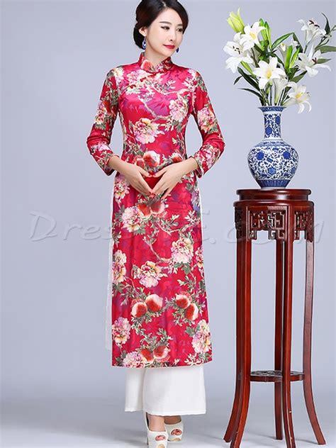 Sleeve Floral Qipao Dress sleeves floral printing
