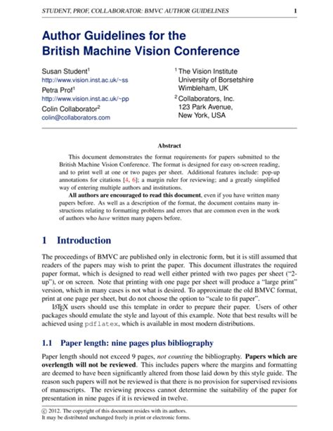 word templates for asme journal and conference papers british machine vision conference bmvc paper latex