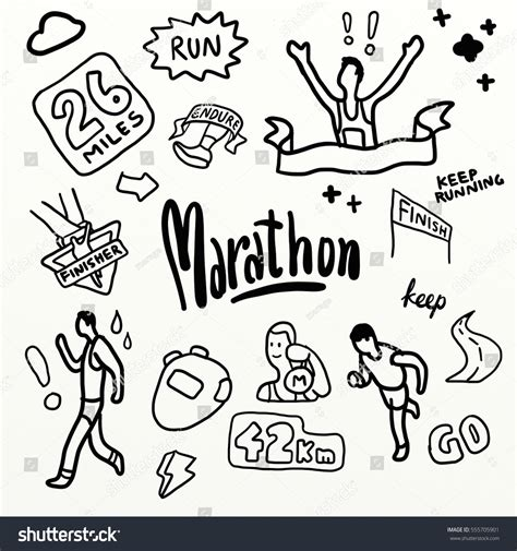 doodle runner marathon run drawing doodle watercolour style stock