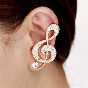 ear cuff jewelry note ear cuffs gold rhinestone note earrings