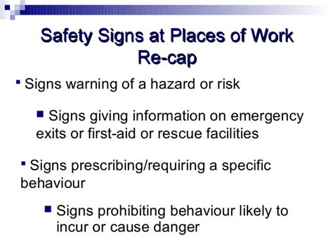 safety signs at places of work shorter